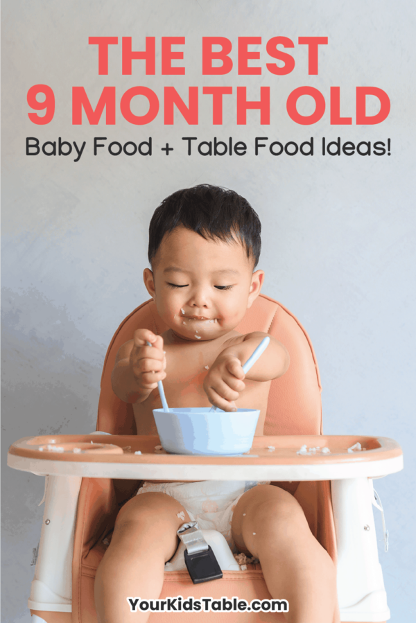 Get simple 9 month old baby food and table food ideas from a pediatric occupational therapist. This is a critical window of time for babies learning to eat. Learn how to maximize it. Includes 14 different 9 month old meal ideas! #9montholdbabyfood #babyfood #tablefood