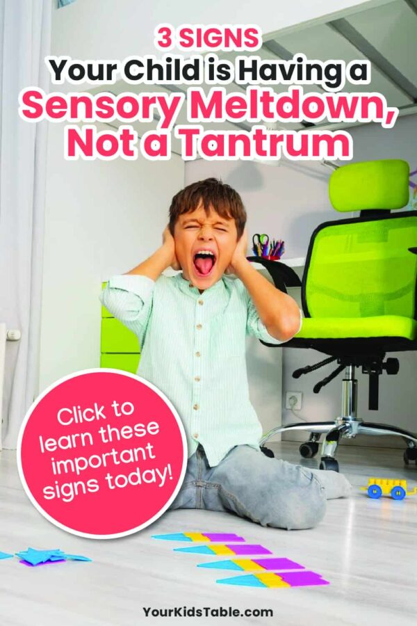 Is your child having a sensory meltdown or a tantrum? Learn exactly how to tell the difference and how to help your child when they are having a sensory meltdown from total sensory overload.#sensoryoverload #sensorymeltdown